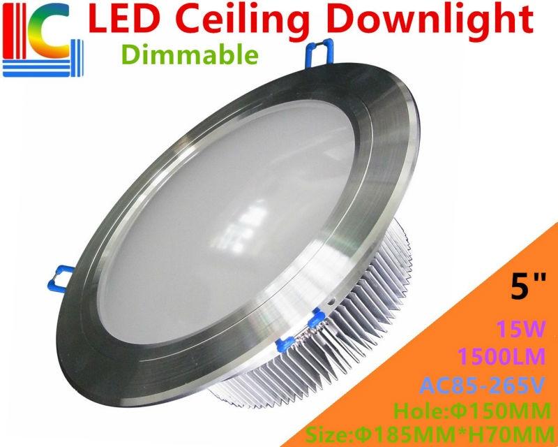 Ультра-яркий затемнения 5in. 15 Вт Downlight AC85-265V 110 В 220 В высокое Мощность встраиваемый потолочный светильник ce для домашнего освещения