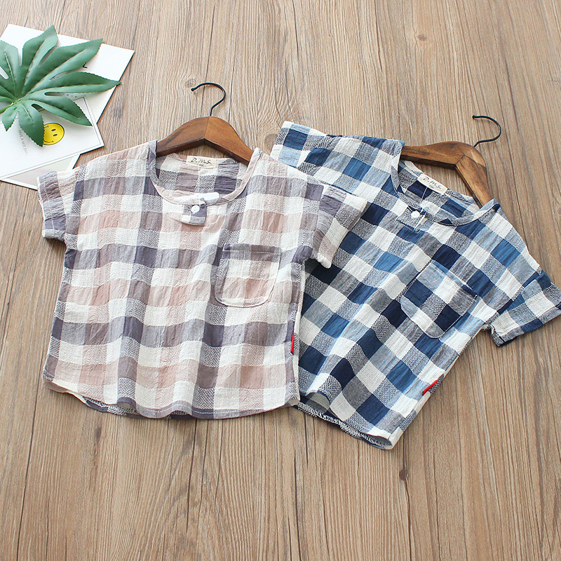 Fashion casual plaid 2 3 4 5 6 7 8 years 2018 summer boy T-shirt cotton linen child short-sleeved shirt size for 100-140