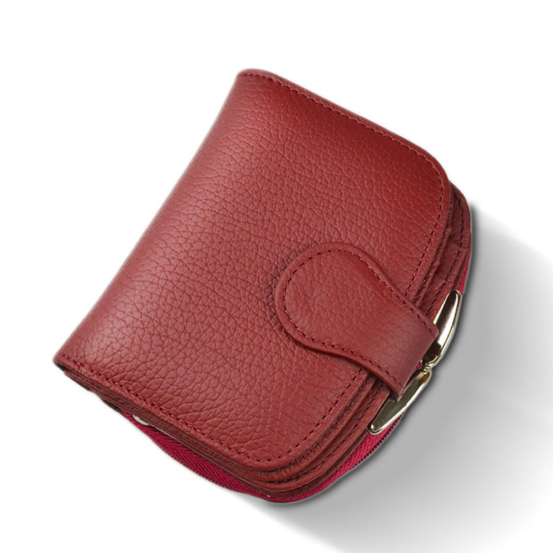 Beth Cat Short Wallet Women's Purse Small Genuine Leather Wallet Portefeuille Female Clutch Coin Purse Cow Leather Red Wine Red