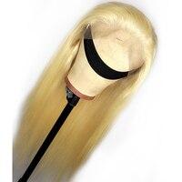 613 полная блондинка парики, кружева человеческих волос парик бесклеевого бразильский прямой парик для женский, черный предварительно сорва