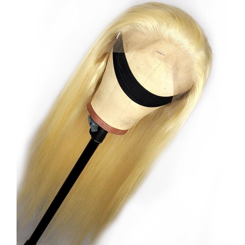 613 Blonde pleine dentelle perruques perruque de cheveux humains sans colle brésilienne droite perruque pour les femmes noir pré plumé miel Blonde perruque 130% Remy