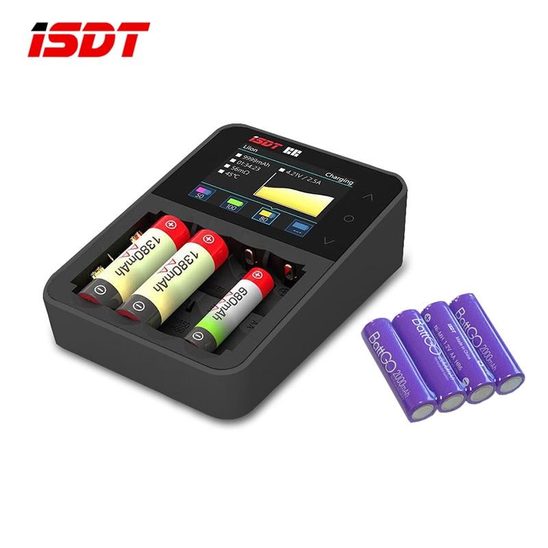 isdt c4 8a tela carregador de bateria inteligente com 4 pces 2000 mah aa recarregavel presente