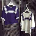 Девочек мода флота вязание свитера дети весна осень хлопок тонкий свободные перемычки детей после короткого before long пуловер