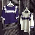 Girls fashion navy knitting sweaters kids spring autumn cotton thin loose jumpers children after short before long pullover