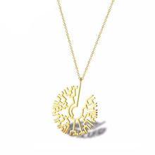 Science Tree Of Life Women Phylogenetic Evolutionary Necklace Gold Creature Evolution Jewelry In Stainless Steel