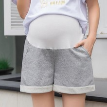 Summer Plus Size Thin Maternity Shorts High Waist Stomach Lift Adjustable Pregnancy Short Pants Casual Gray Home Pregnant Shorts summer casual loose maternity shorts low elastic waist side white strip pregnancy short pants stomach lift pregnant shorts