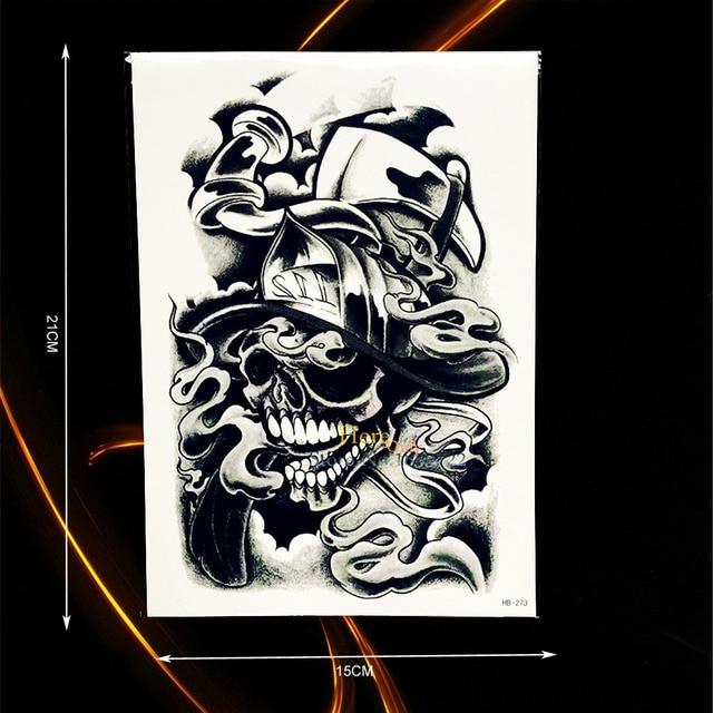 1 Pc Keren Tahan Air Palsu Punk Style Tattoo Mr Tengkorak Topi