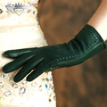 High Quality Women Suede Goatskin Gloves Autumn Winter Plus Velvet Elegant Genuine Leather Sheepskin Driving Gloves 2329