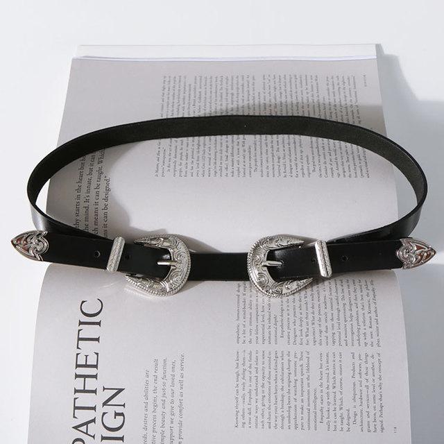Moda de Metal Duplo Fivelas de cintos de Designer Cintos de Couro Genuíno Para As Mulheres