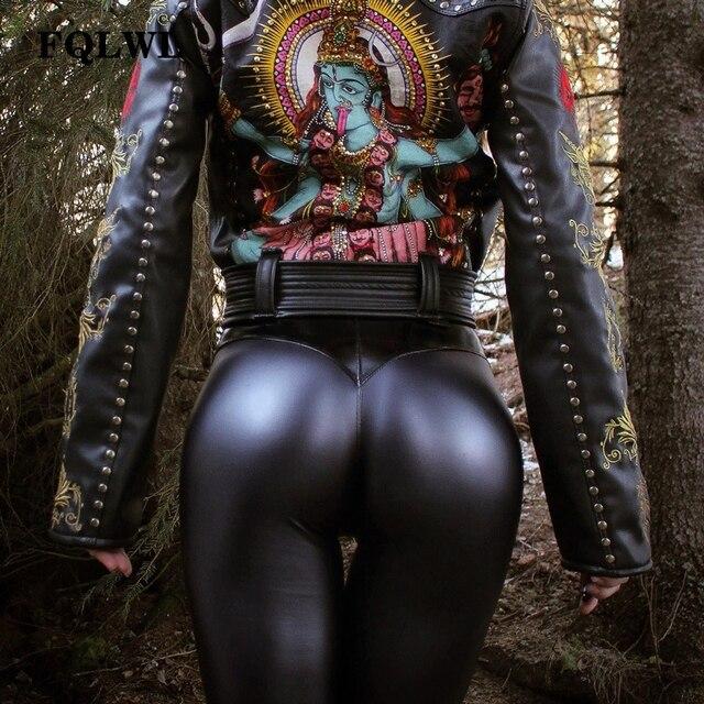 56999eb41f970a FQLWL Punk czarny Faux Pu spodnie skórzane damskie spodnie Skinny Push Up/wysokiej  talii spodnie
