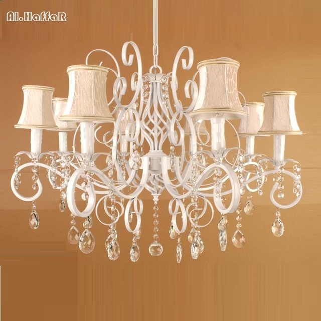 Wrought Iron Chandelier Vintage Crystal Light Fixture American Lighting Suspension Hanging