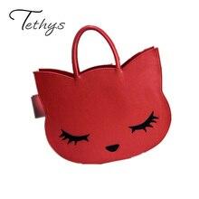 2017 Cartoon Cats Handbag New Brand Designer Fashion Cute Women's Pu Leather Handbag Cat Hand Bag Women Fashion Casual Tote 1