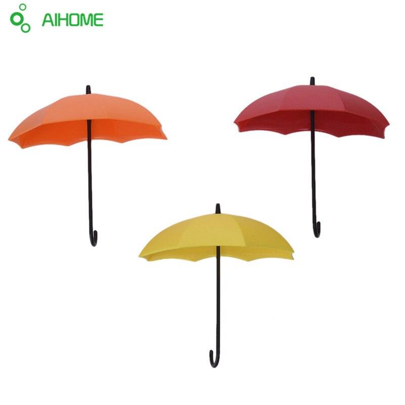 New Desigh 3Pcs Colorful Umbrella Wall Hook Key Hair Pin Holder Organizer Decorative High Quality Umbrella Wall Hooks