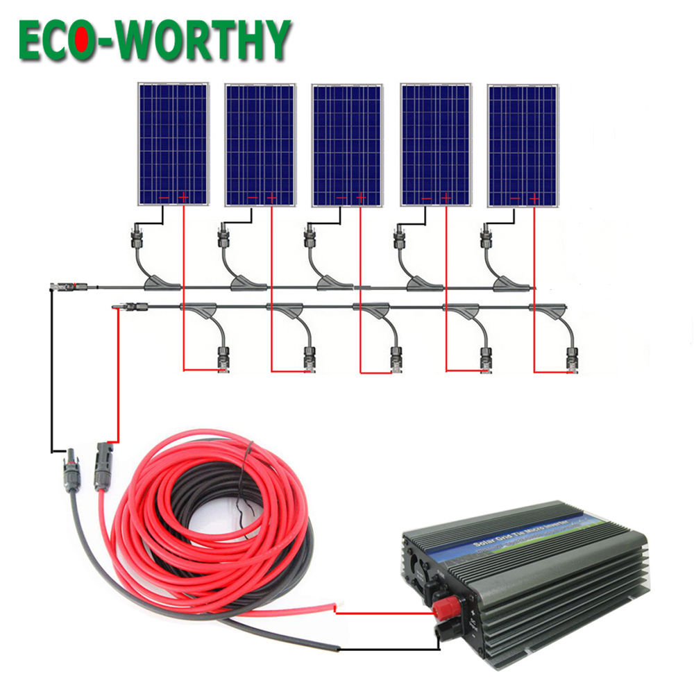 US $663 29 |500watt Solar Panel System 5*100W Poly Solar Module & 500W Grid  Tie Inverter for Home RV Boat-in Solar Energy Systems from Consumer