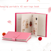Portable 42 Earring Book Holder Jewelry Packaging Display Box PU Leather Notebook Women Multi Ear Stud Storage Pack Gift