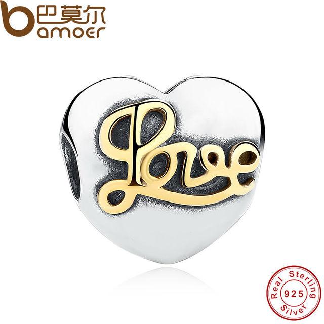 Bamoer alta calidad 925 plata esterlina amor corazón clip granos del encanto cupieron la pulsera diy jewelry making pas242