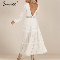 Simplee Sexy deep v neck women dress Elegant backless pleated lace long dress Boho hollow out summer plus size white dress festa