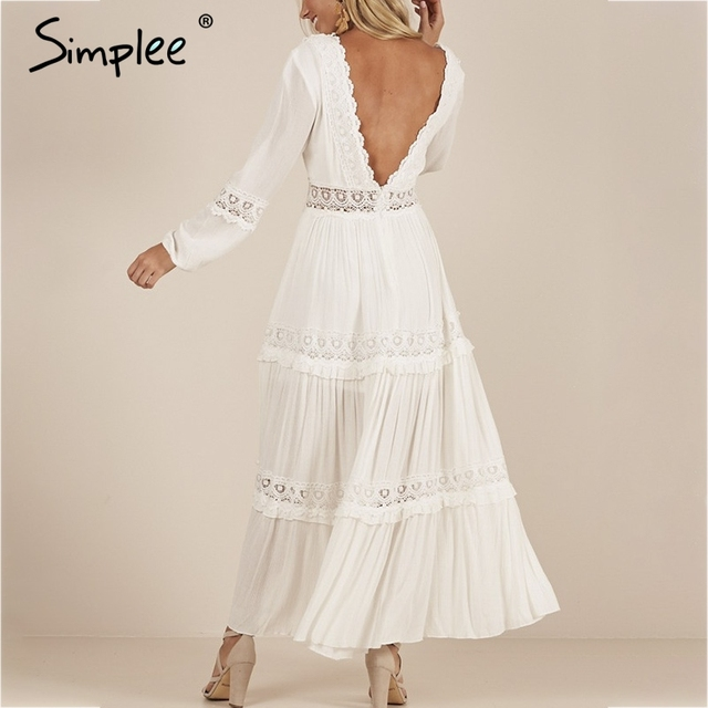 650cc653ec1af US $26.76 45% OFF|Simplee Sexy deep v neck women dress Elegant backless  pleated lace long dress Boho hollow out summer plus size white dress  festa-in ...