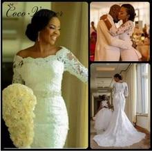 아프리카 웨딩 드레스 인 어 공주 2019 보트 목 3/4 슬리브 순수한 흰색 새로운 레이스 자 수 구슬 신부 웨딩 드레스 w0362