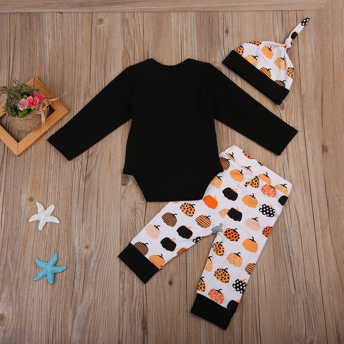 17 Cute Halloween Newborn Baby Boys Girls Winter Clothes Long Sleeve Romper Pants Leggings Cotton Pumpkin Print Outfit 3pcs 4