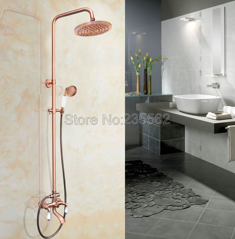 8 inch Rainfall Shower Mixer Faucet Set Wall Mounted Bathroom Tub Taps Antique Red Copper Finish W/ Handheld Shower Head lrg576