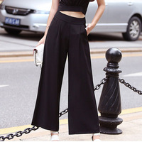 Solid Color Summer Women Wide Leg Pants High Waist Trousers Loose Slim Straight Black Button Pants