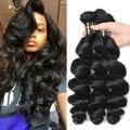 Top Malaysian Virgin Loose Hair Wave 7A Sin Procesar Malasio de la Virgen Del Pelo 3 Bundles Armadura Del Pelo Humano Ondulado 8-30 pulgadas En Línea