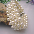 Free Shipping Natural Freshwater Pearl Bracelets Hand Fan Pearl Jewelry Wide Bracelet Woven Real Pearls