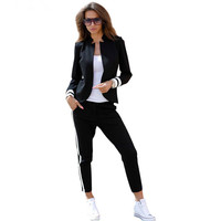 MVGIRLRU women 2 two Piece Set suits Long sleeve stand up collar buttonless Black and white tracksuit