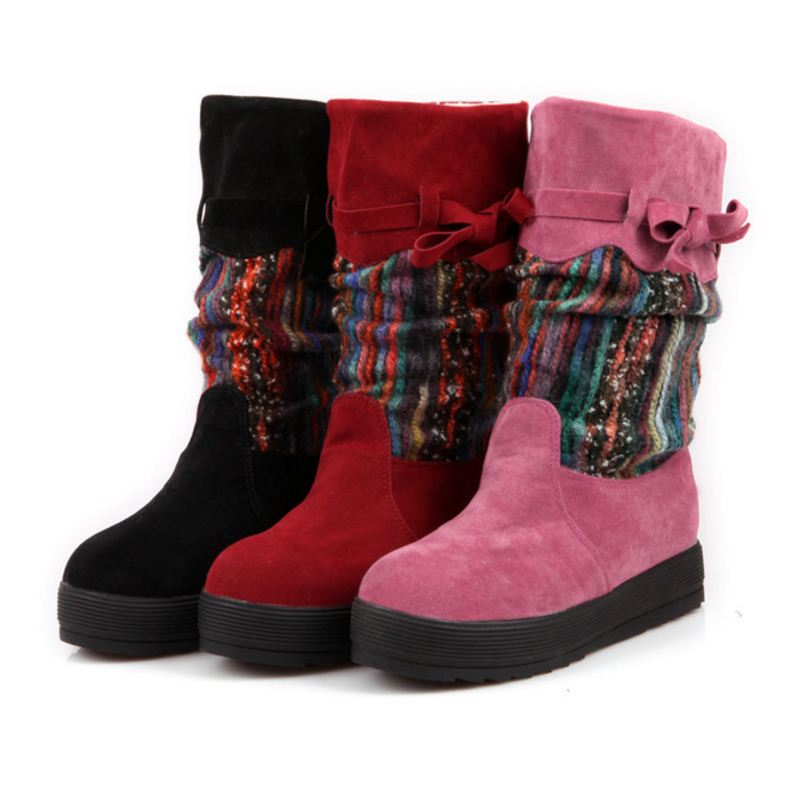 Flat Heel Black Half Short Women Boots Shoes Mix Color Plush Suede Nubuck Winter Boot Woman Warm Snow Boots Size 34-39