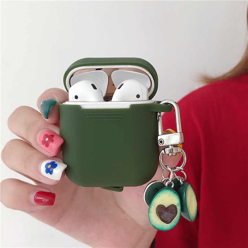 Luxury Wireless Bluetooth Charging Box Silicone Earphone Cover Protective Case For Airpods Iphone Cartoon With Cute Keychain