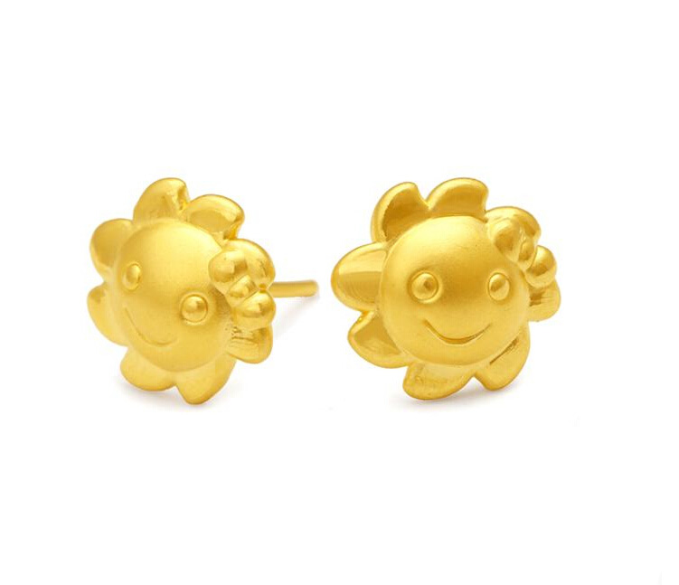 Pure 24K Yellow gold Sun Flower Stud Earrings 1.61g