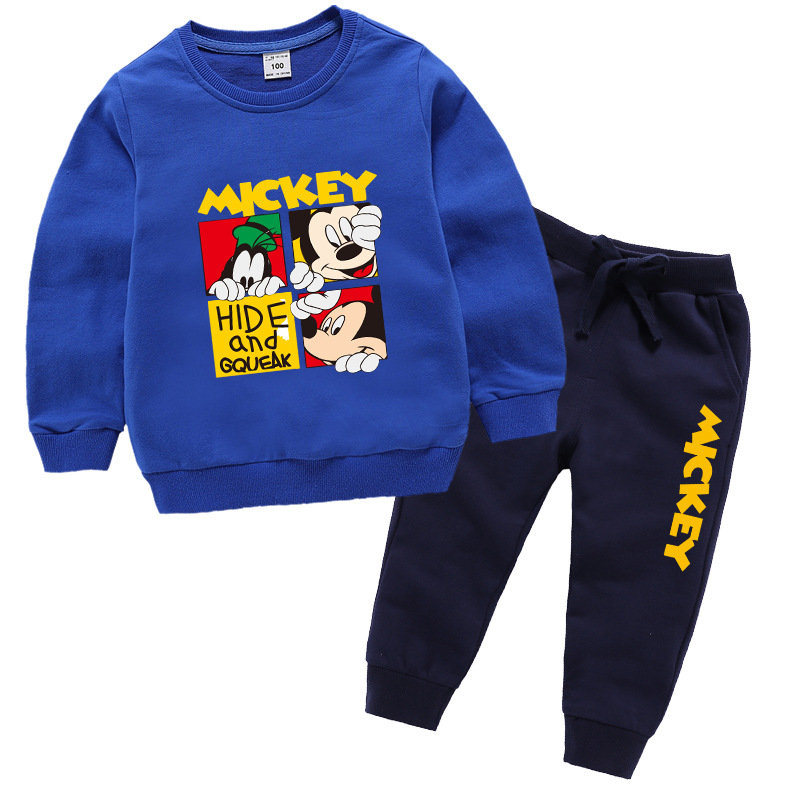 Baby boys sweatshirt + pants Spring Fall letter squared minnie mickey mous cartoon girls 2 pcs set kids suit children 1 to 8 yrs