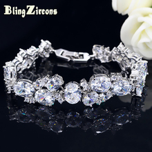 BeaQueen Gorgeous Big Oval CZ Stone Wedding Bracelet Silver Color Cubic Zircon Crystal Bracelets Bangles for Women B116 gorgeous faux crystal oval bracelet with ring for women