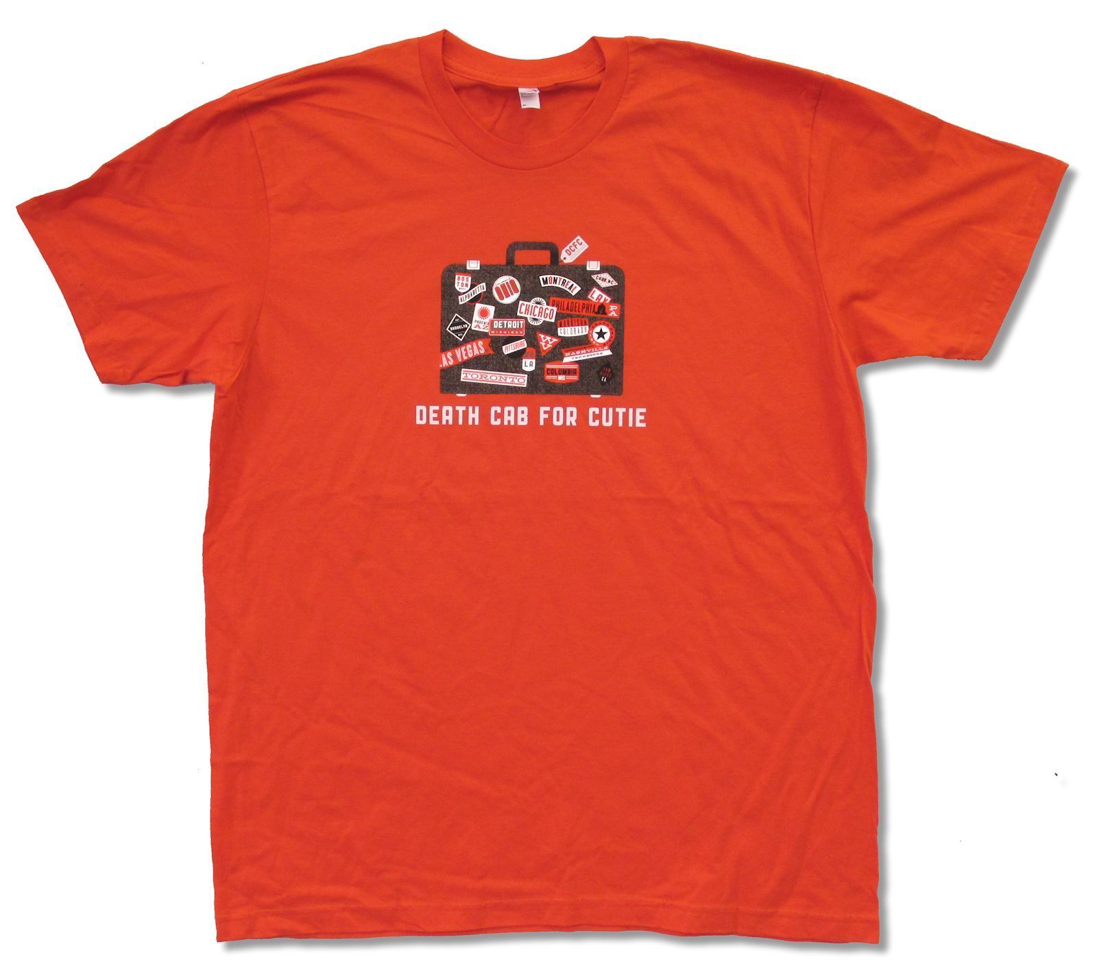 DEATH CAB FOR CUTIE - SUITCASE ON ORANGE T-SHIRT NEW OFFICIAL ADULT XL
