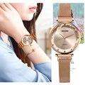 Роскошные розовое золото Для женщин часы моды алмаза женский  сетчатый магнит часы с возможностью погружения на глубину до 30 м Водонепрониц...