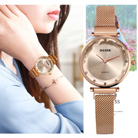 Luxury Rose Gold Women Watches Fashion Diamond Ladies Mesh Magnet Watch 30M Waterproof Female Wristwatch for Gift Clock 2019