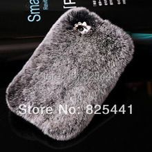 New arrival Luxury Women Winter Warm Rabbit Fur Case Back Cover For iPhone 4 4S 5 5S 5G 5C diamond bowknot 1pcs Free Shipping