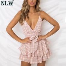 NLW White Ruffle Plaid Jumpsuits Rompers Spaghetti Strap Cross Back Bow Tie Waist Skorts Playsuit Girl Summer Beach Overalls(China)