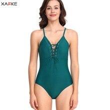 лучшая цена XARKE Sexy One Piece Swim Suit Women 2019 Swimwear Lace Up Bather Slim Swim Suit Push Up Bikini Monokini Swimming Suit for Women