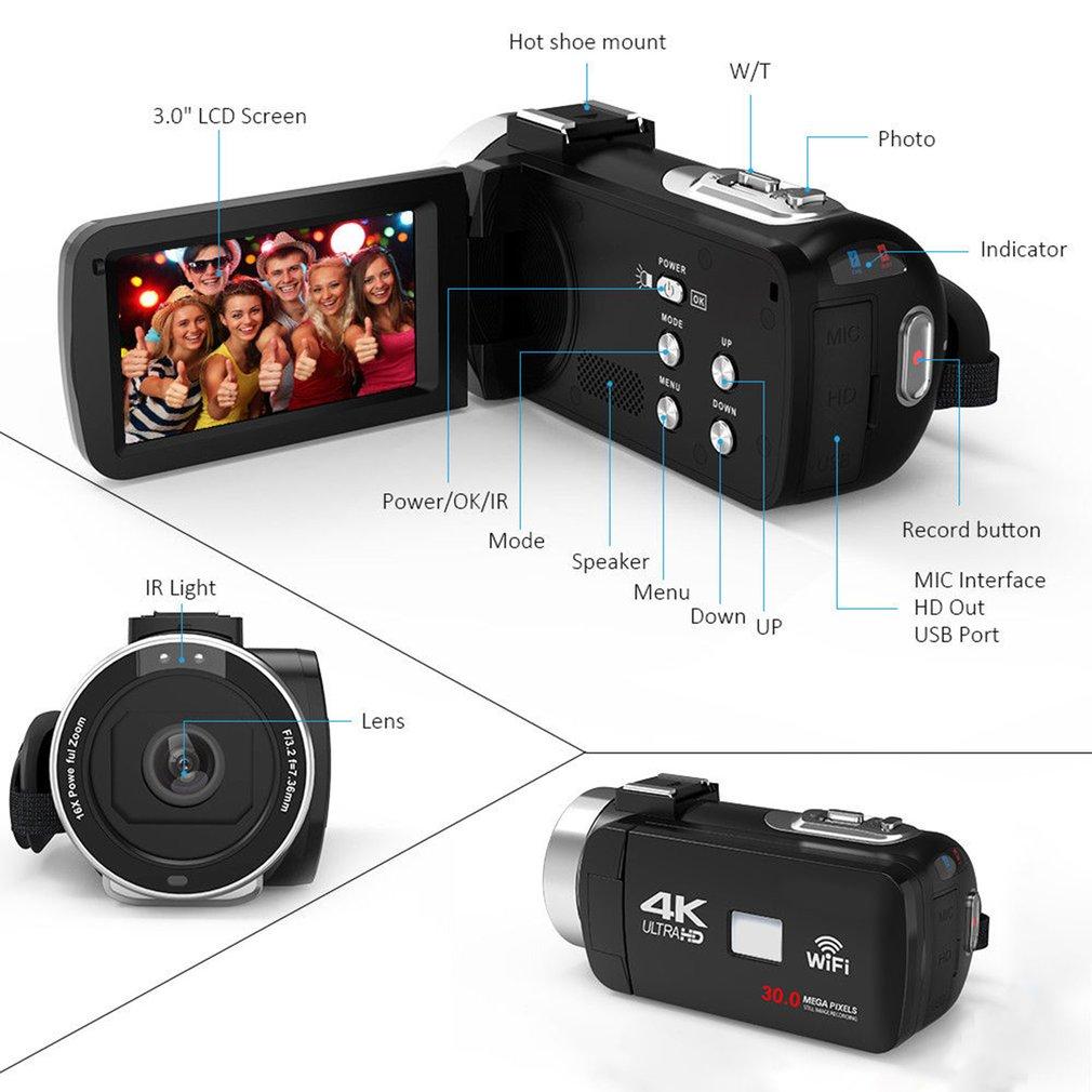 HTB191g7aUT1gK0jSZFrq6ANCXXag HDV4K HD digital camera night vision 30MP DV WIFI touch screen infrared fill light Camcorder Recorder