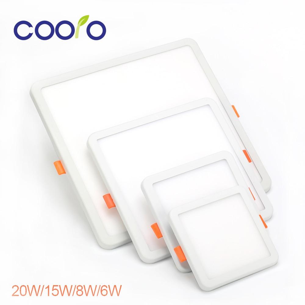 COOLO AC220V 6 W 8 W 15 W 20 W Ronde Carré LED Panneau Lumineux encastré LED Plafonnier Spot Down Light Dith Led Pilote, livraison gratuite