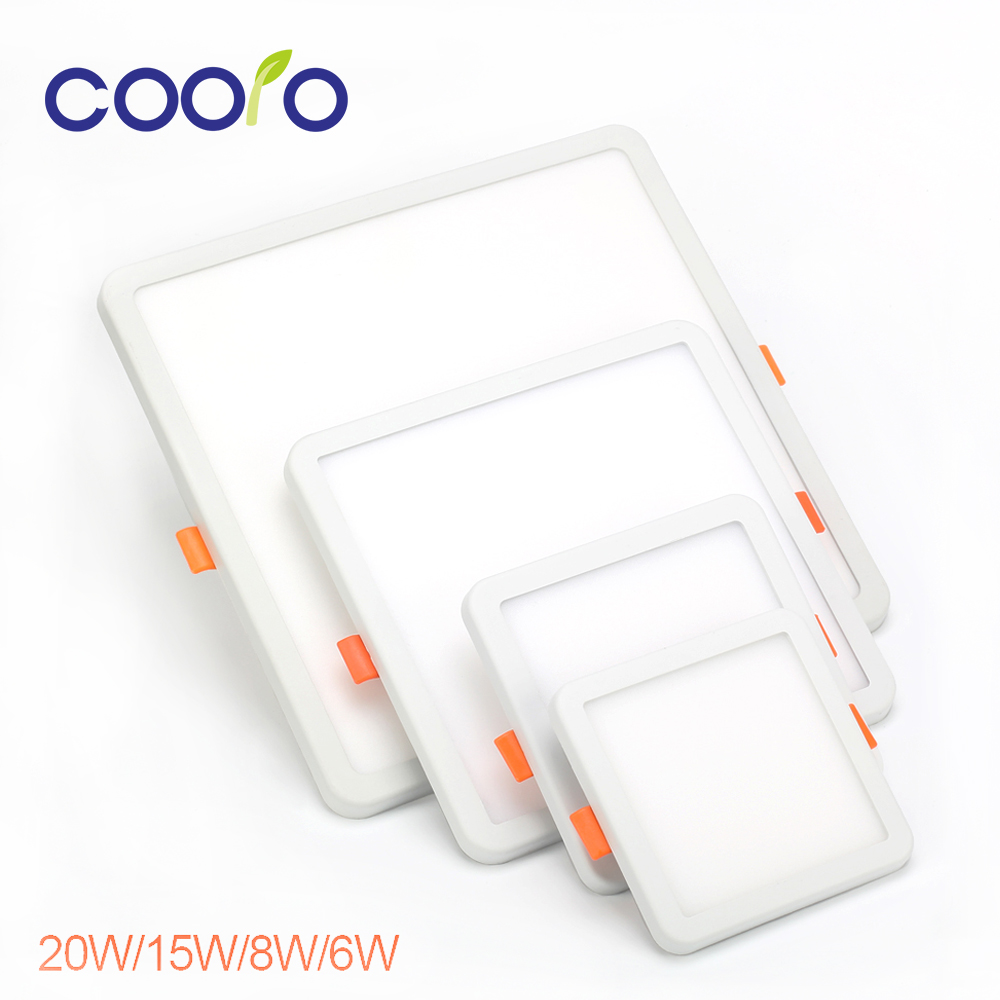COOLO AC220V 6W 8W 15W 20W Round Square LED Panel Light Recessed LED Ceiling Light Spot Down Light Dith Led Driver,free shipping