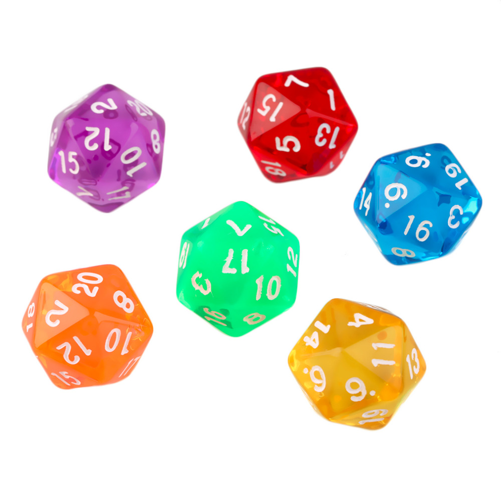 6pcs/Set Games Multi Sides Digital Dice D20 Gaming Dices Game Playing Mixed Color Hot Sale Dropshipping