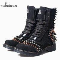 Mabaiwan/2019 пикантная женская обувь с заклепками, ботильоны на низком квадратном каблуке, зимние сапоги из натуральной кожи в стиле милитари дл
