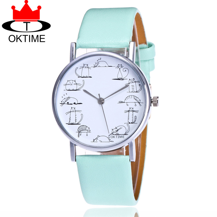 OKTIME Brand Fashion Girls Lovely Cat Watch Casual Women Wrist Watch Leather Strap Quartz Watches Relogio Feminino KT07 bamboo wood watches for men and women fashion casual leather strap wrist watch male relogio