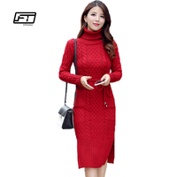 Fitaylor New Winter Women Casual Turtleneck Long Knitted Sweater Dress Cotton Slim Bodycon Knitting Pullover Knee