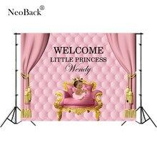 אישית טקסט ורוד חדש נולד מסיבת יום הולדת צילום רקעים DIY תינוק מקלחת תמונה רקע מסיבת הבאנר לוח