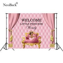 Gepersonaliseerde Tekst Roze Pasgeboren Verjaardagsfeestje Fotografische Achtergronden Diy Baby Shower Foto Achtergrond Party Banner Board