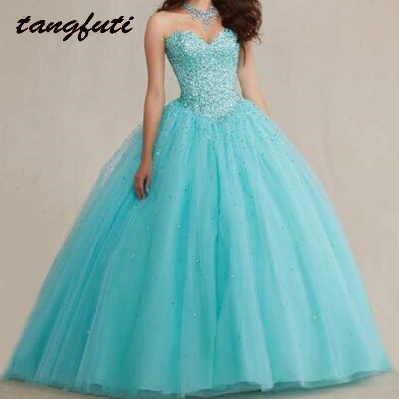 vestido de Puffy Quinceanera Dresses 2016 Crystal Corset Tulle Masquerade  Ball Gown Turquoise Girls 15 years 701374691c44